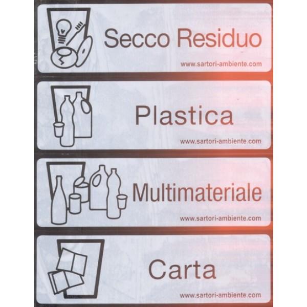 Foglio etichette adesive per bidone raccolta differenziata - Bidoni per differenziata casa ...